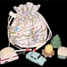 FREE SHIPPING MIDWEST road MAP bag & WOODEN camping campsite figures SET educational toy NEW NIB