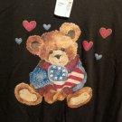 FREE SHIPPING Patriotic TEDDY BEAR T-shirt black new NWT USA flag stars stripes hearts cotton