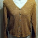 FREE SHIPPING Gold Metallic boxy Sweater button front First Issue women's S small