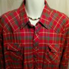 FREE SHIPPING Vintage Pearl Snap Western Shirt RED GREEN checked cowboy rodeo XL cotton