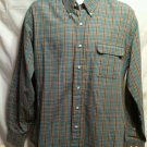 FREE SHIPPING Vintage LEVIS Western Shirt checked plaid cowboy rodeo mens Large cotton blend L