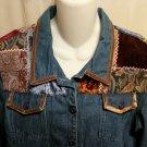 FREE SHIPPING Unique Denim Jacket embellished patchwork MULTI TEXTURE boho hippie velvet tapestry 14