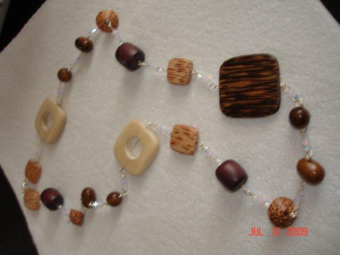 Genuine Swarovski and wood beaded necklace