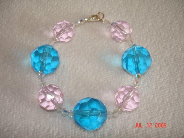 Pink and blue glass and Swarovski crystal beaded bracelet