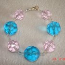 Pink and blue glass and Swarovski crystal beaded bracelet