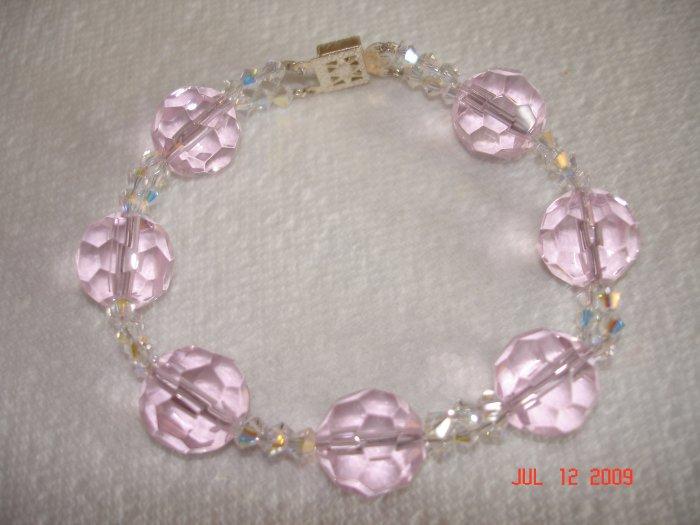 Gorgeous baby pink glass and Swarovski crystal bracelet