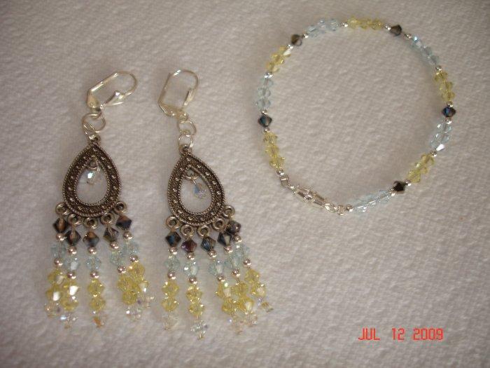 Swarovski crystal bracelet and earing set