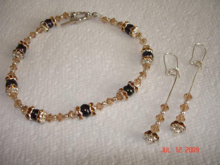 Swarovski crystal and cultured pearl bracelet and earing set