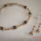 Swarovski crystal and cultured pearl bracelet and earing set