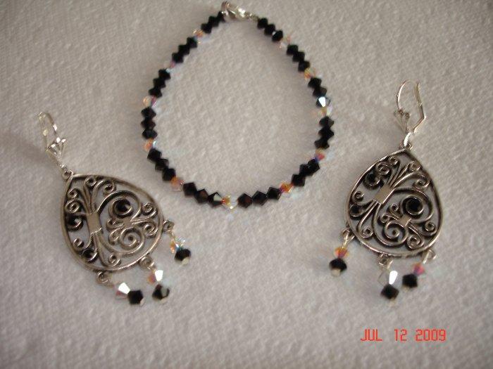 Swarovski bracelet and earing set