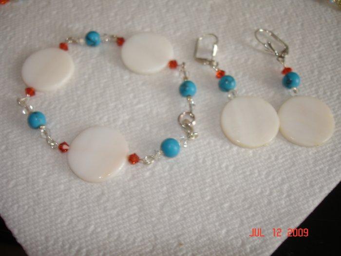 Swarovski and shell bracelet and earing set