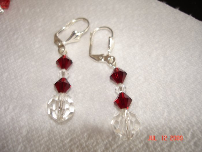 Swarovski garnet drop earings