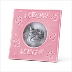 NEW! Pink Stoneware Cat Frame