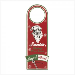 NEW! Santa Good/Bad Metal Doorknob Hanger