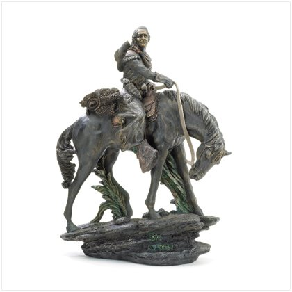 NEW! Cowboy Riding Horse on Rock Figurine