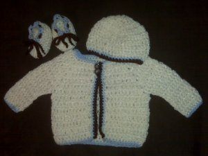 Cream, Brown, and Blue Baby Sweater Set- Special Order