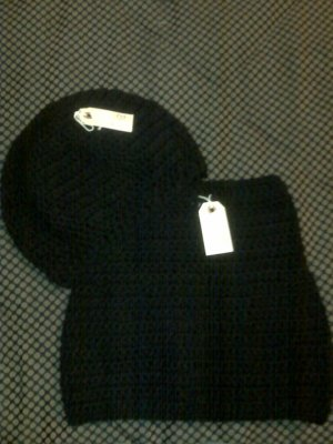 Black Cowl, Hat, & Ribbed Armwarmers Set