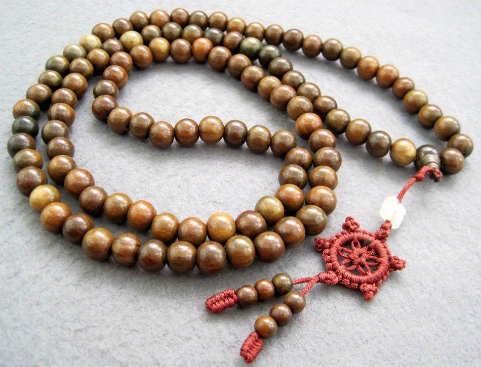 Tibet Buddhist 108 Green Sandalwood Beads Prayer Mala Necklace  8mm  ZZ003