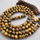 Tibet Buddhist 108 Tiger Eye Gem Bead Prayer Mala Necklace  8mm  ZZ021