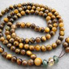 Tibet Buddhist 108 Tiger Eye Gem Beads Prayer Mala Necklace  6mm  ZZ022