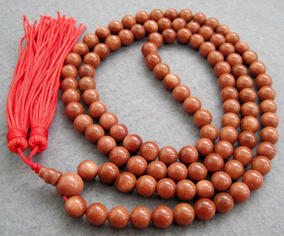 Tibet Buddhist 108 Goldstone Gem Beads Prayer Mala Necklace  8mm  ZZ032