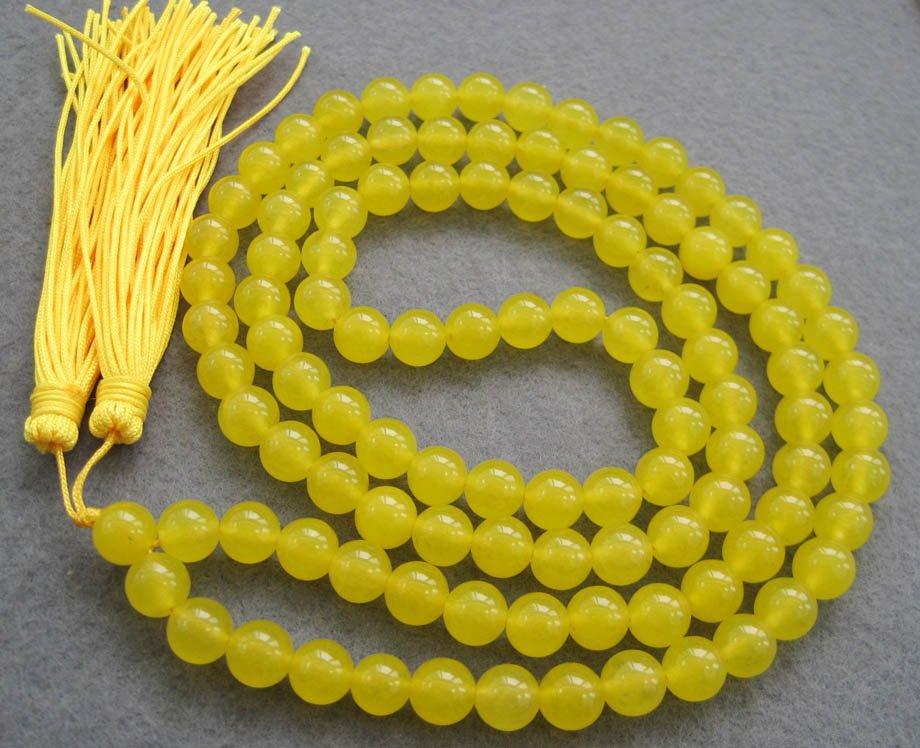 Tibet Buddhist 108 Yellow Jade Beads Prayer Mala Necklace  8mm  ZZ033
