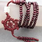 Tibet Buddhist 216 Purple Sandalwood Beads Prayer Mala Necklace  ZZ040