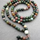 Tibet Buddhist 108 Jade Beads Prayer Mala Necklace 6mm  ZZ068