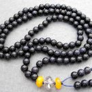 Tibet Buddhist 108 Blue Sandstone Gem Beads Prayer Mala Necklace 6mm  ZZ069