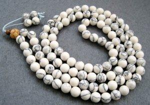 Tibet Buddhist 108 White Turquoise Gem Beads Prayer Mala Necklace 8mm  ZZ076