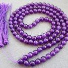 Tibet Buddhist 108 Purple Crystal Quartz Beads Prayer Mala Necklace 8mm  ZZ086