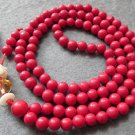 Tibet Buddhist 108 Red Turquoise Gem Beads Prayer Mala Necklace 6mm  ZZ089