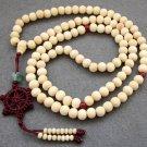 Tibet Buddhist 108 White Sandalwood Beads Prayer Mala Necklace 8mm  ZZ090