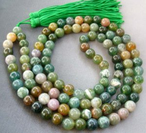 Tibet Buddhist 108 India Agate Gem Beads Prayer Mala Necklace 8mm  ZZ095