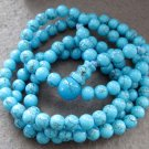 Tibet Buddhist 108 Blue Turquoise Gem Beads Prayer Mala Necklace 6mm  ZZ106