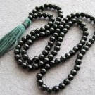 Tibet Buddhist 108 Green Sandstone Beads Prayer Mala Necklace 6mm  ZZ108