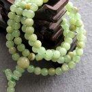 Tibet Buddhist 108 Light Green Stone Beads Prayer Mala Necklace 6mm  ZZ109