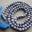 Tibet Buddhist 108 Blue Point Stone Beads Prayer Mala Necklace 8mm  ZZ111