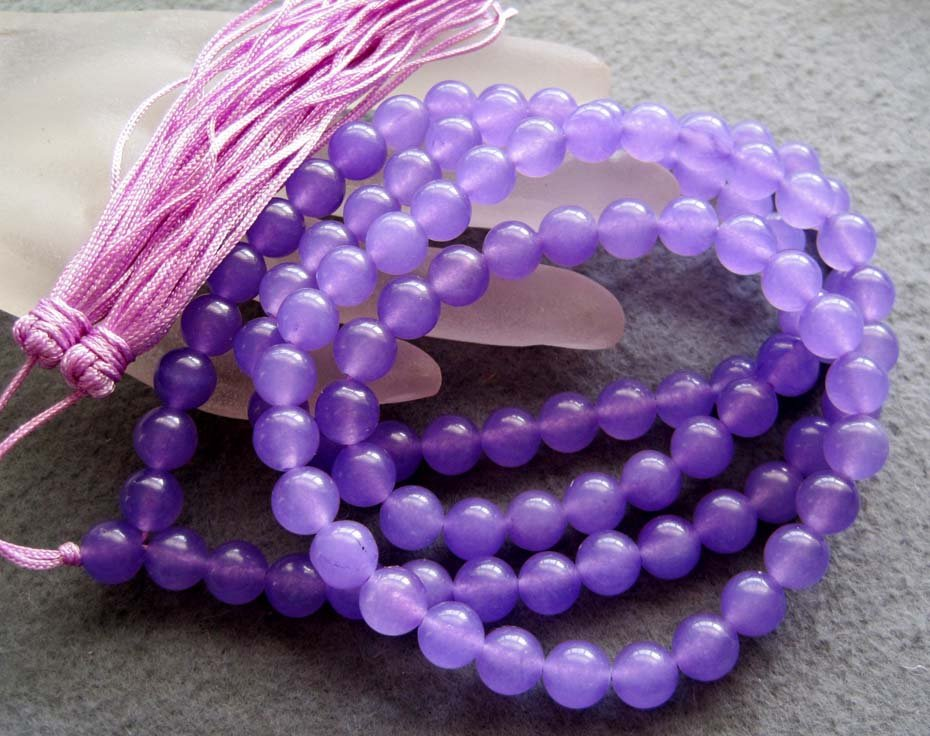 Tibet Buddhist 108 Light Purple Stone Beads Prayer Mala Necklace 8mm  ZZ118