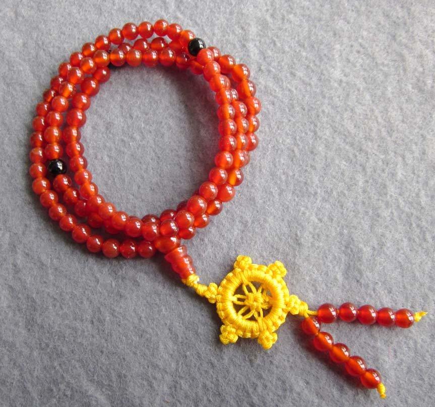 Tibet Buddhist 108 Agate Gem Beads Prayer Mala Necklace 6mm  ZZ121