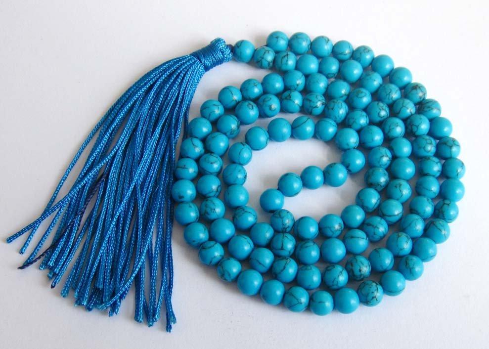 Tibet Buddhist 108 Blue Turquoise Gem Beads Prayer Mala Necklace 6mm  ZZ124