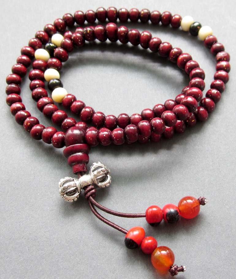 Tibet Buddhist 108 Wood Beads Prayer Mala Necklace  ZZ125