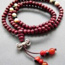 Tibet Buddhist 108 Wood Beads Prayer Mala Necklace  ZZ125