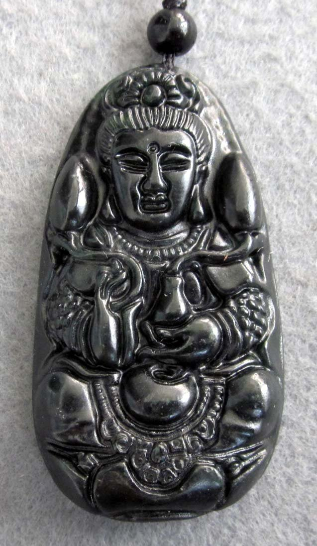 Black Green Jade Tibet Buddhist Mercy Kwan-Yin Amulet Pendant  TH70