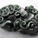 Black Green Jade Lucky Pi-Xiu Dragon Coins Amulet Pendant  TH71