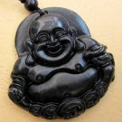 Black Jade Tibet Buddhist Laughing Buddha Money Amulet Pendant  TH72