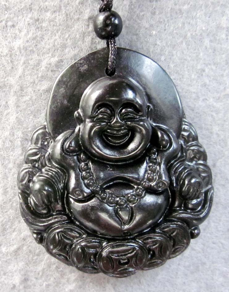 Black Green Jade Tibet Buddhist Laughing Buddha Coins Amulet Pendant  TH73
