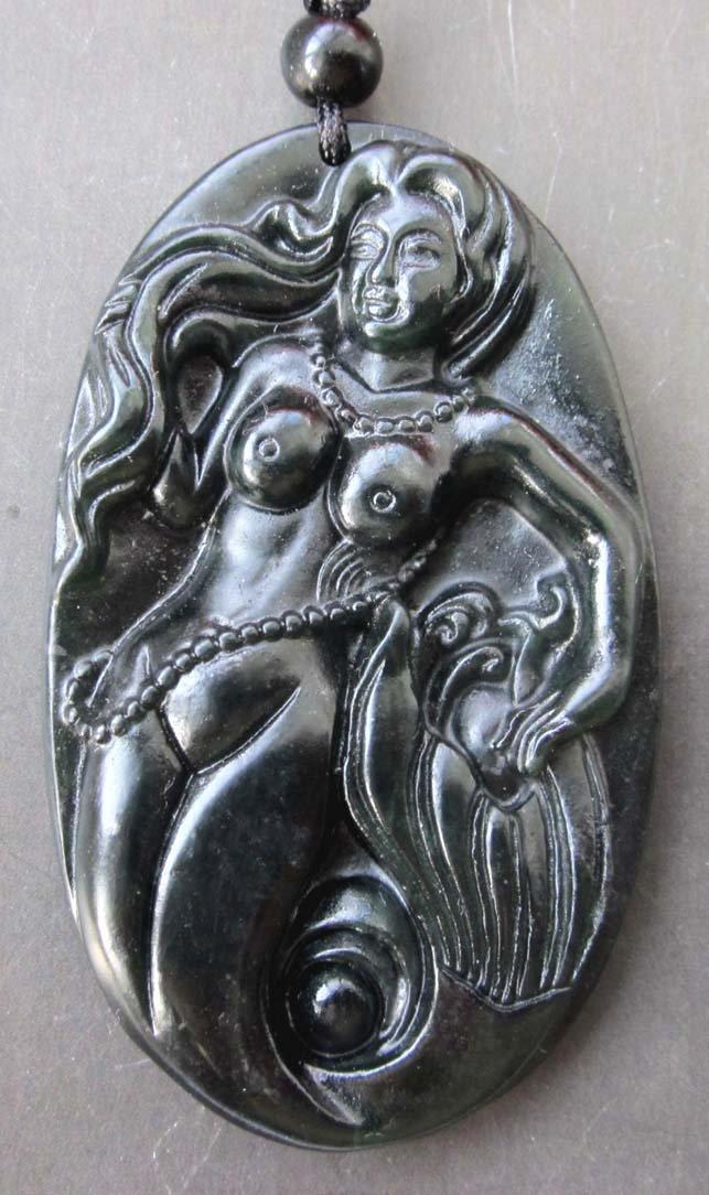 Beautiful Black Green Jade Mermaid Seamaid Pendant  TH74