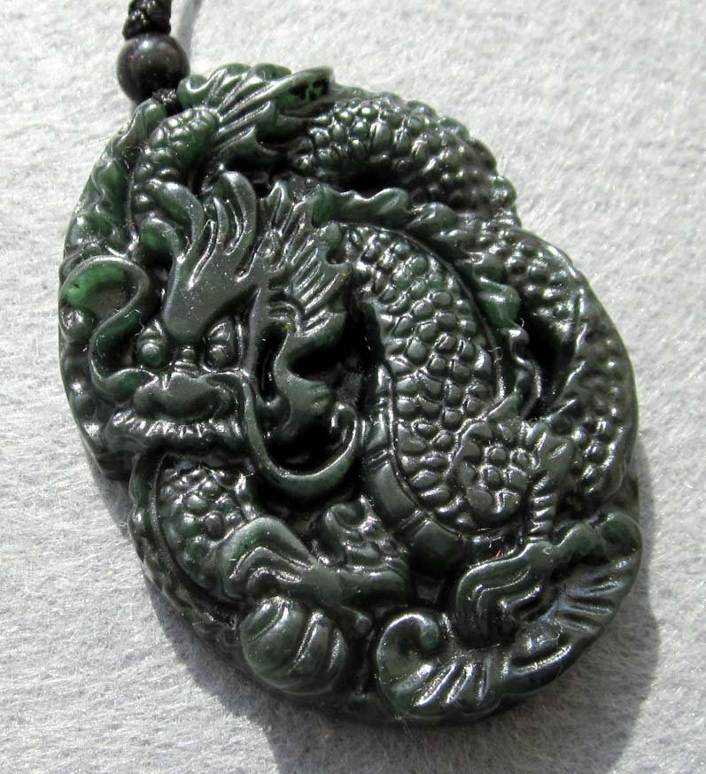 Black Green Jade Super Powerful Dragon Amulet Pendant  TH76