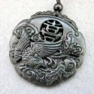 Black Green Jade Chinese Word JI Lucky Phoenix Amulet Pendant  TH79